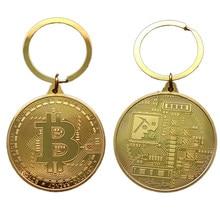 Atacado banhado a ouro bitcoin moeda chaveiro collectible moeda arte coleção presente físico metal antigo imitação decoração da casa