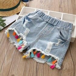 2018 Популярные летние модные красивые детские короткие джинсы для детей 2, 3, 4, 6, 8, 10, 12 лет, джинсовые шорты с бахромой и дырками для маленьких ...