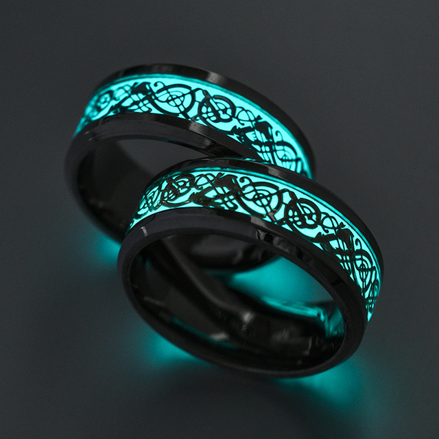 Luminous Plated Black Ring Glow In The Dark Golden Dragon Fashion