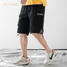 Tide brand men's clothing tooling  loose summer new products drawstring five pants sports pants overalls men Casual