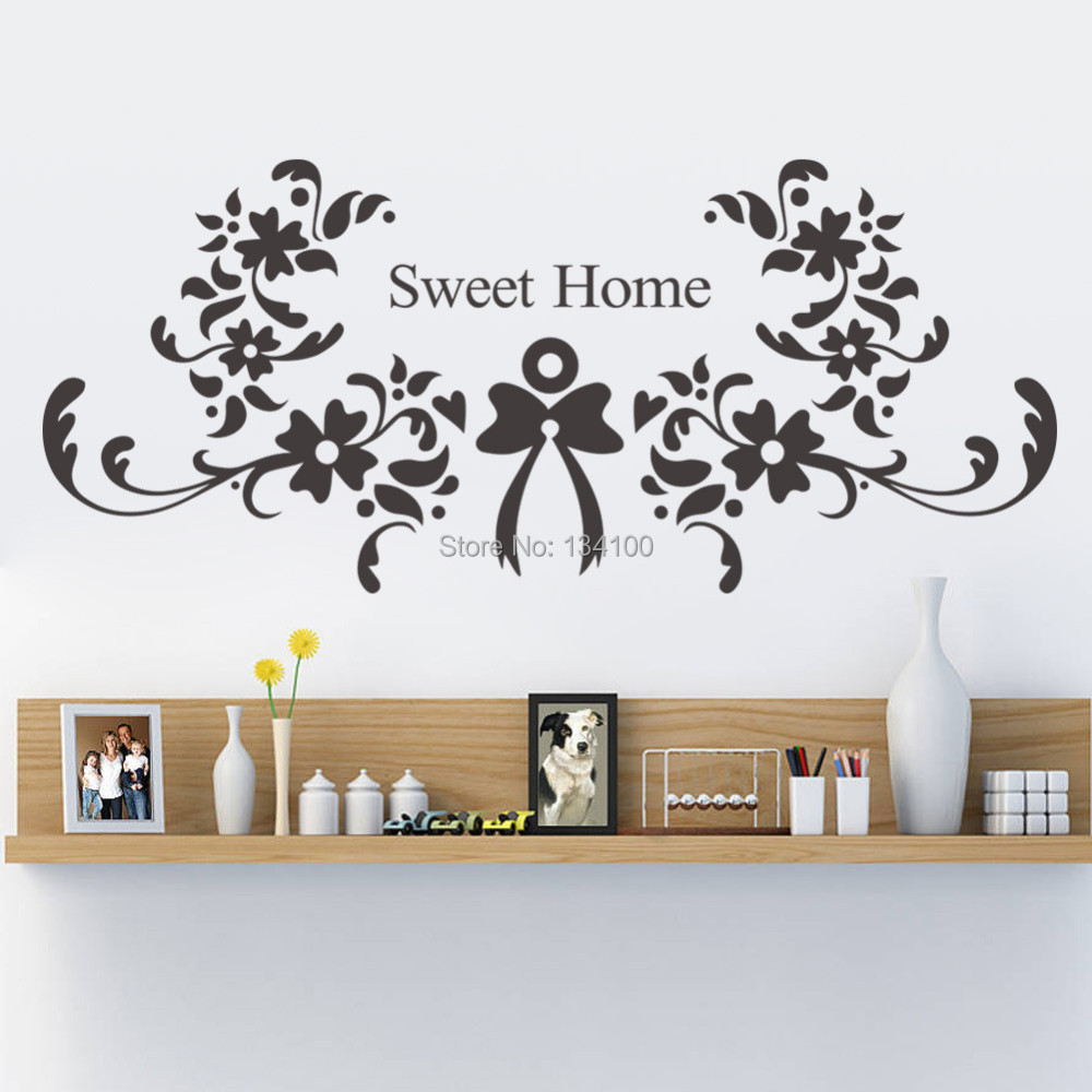 Wall stickers home sweet home - Flower With English Quote Sweet Home Living Room Backdrop Removable Waterproof Vinyl Decoration Wall