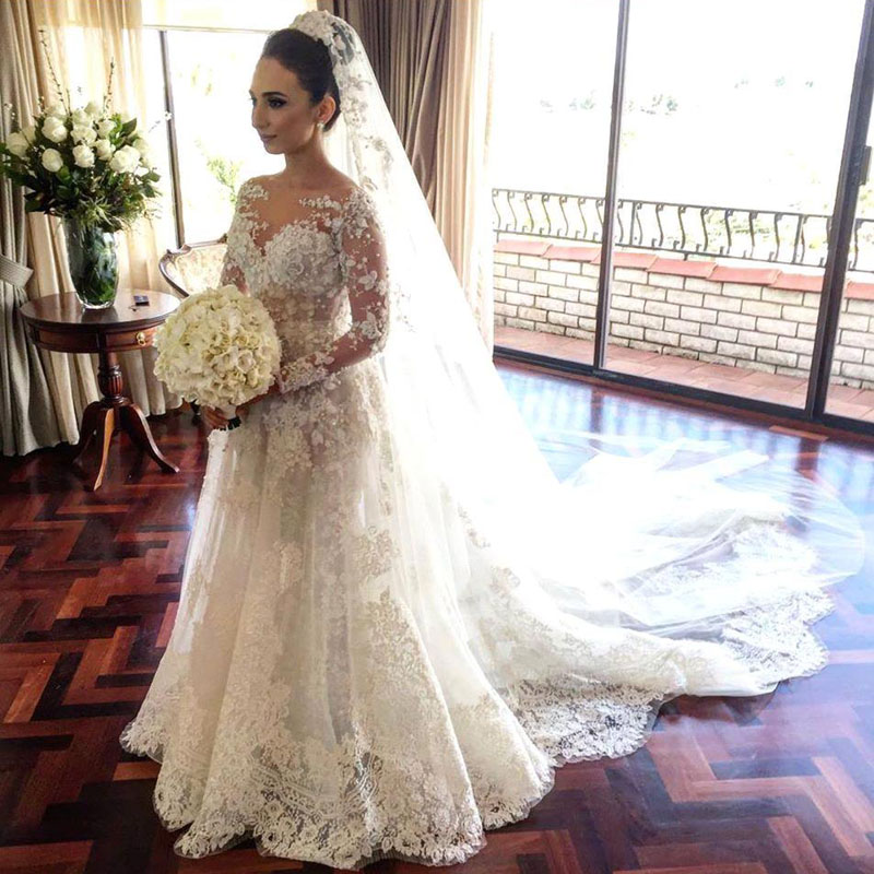 Luxury Wedding Gowns Sheer Crew Neck Long Sleeve Wedding Dress Romantic Appliques Lace Illusion Bridal Gowns Robe De Mariage