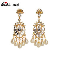 Luxurious Gold Color Chandelier Clear Pearls Drop Earrings For Women Fashionable Bijoux Boucle D Oreille For