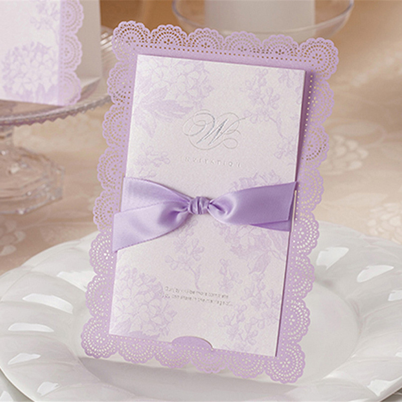100pcs Purple Laser Cut Elegant Hollow Wedding Invitations Card With ...