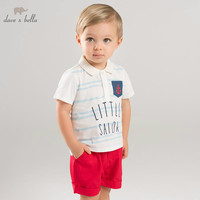 DBA6390 dave bella summer baby fashion tops+short outfits children high quality suit boys clothing sets toddler 2pcs