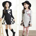 Baby Girls Dress Plaid Patchwork Character Girl Dresses Long Sleeve Cute Bow Children Clothing Toddler kids Spring dress