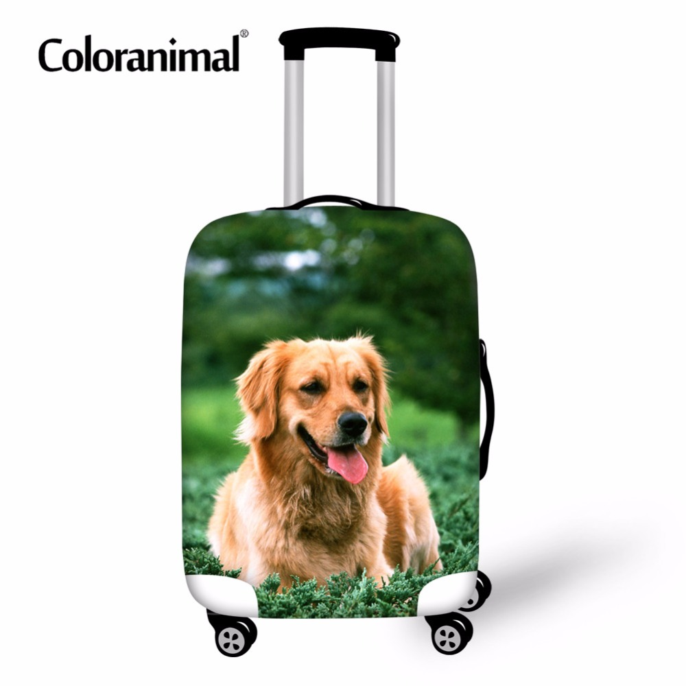 Coloranimal Cute Dog Golden Retriever Pattern Protect Luggage Cover Travel Accessories Suitcase Dust Elastic Bag For 18-30 Inch