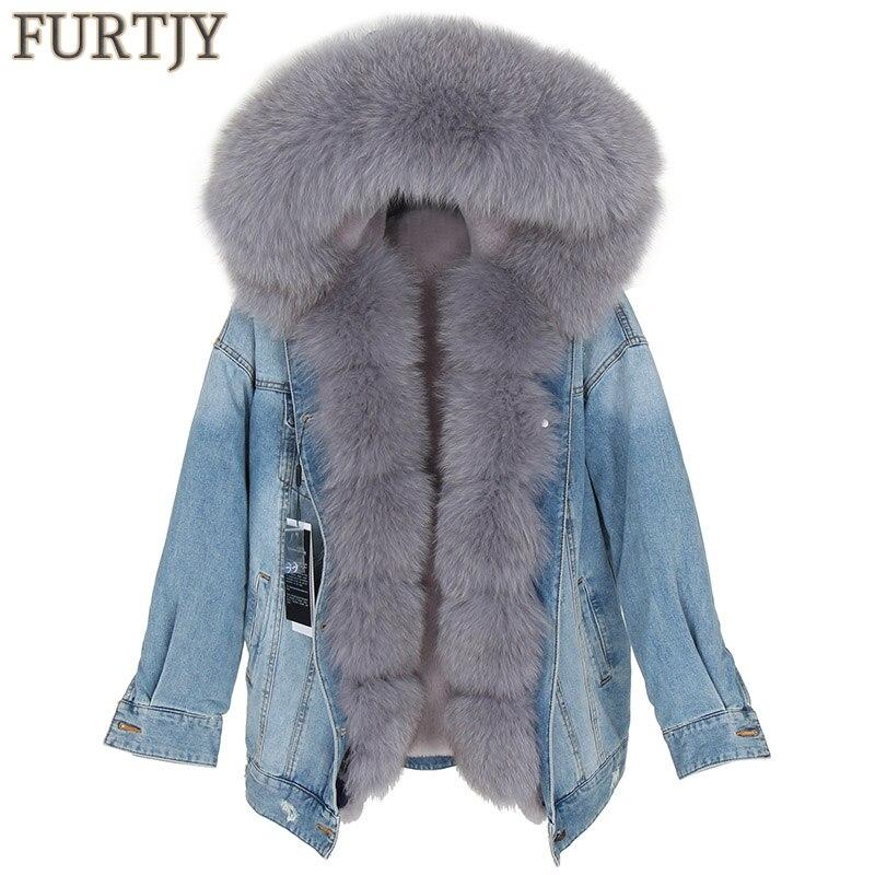 2018 Denim Parka Real Fur Coat Winter Jacket Women Thick Warm Fur Parka Real Fur Jacket Real Natural Fox Fur Coat