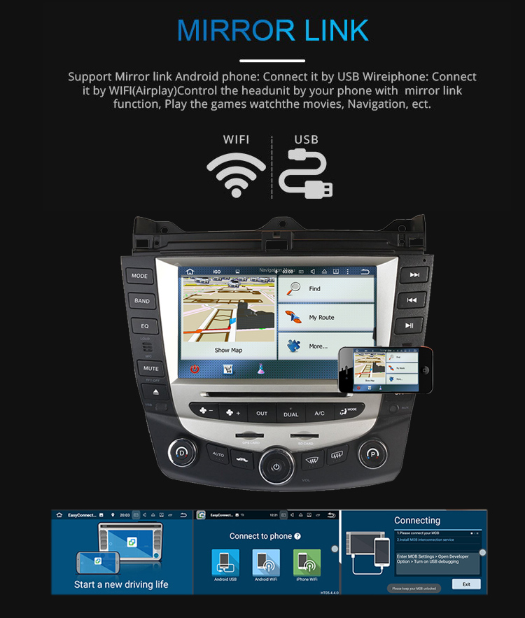 Discount Car Radio Multimedia Android 8.0 for Honda Accord 7 2003-2007 car dvd audio stereo player gps Navigation wifi RDS 2din 6