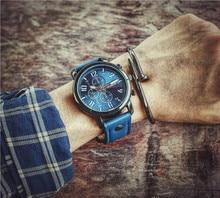 2017 Banda de Cuero Cara Grande Relojes Para Hombre Azul Militar Relojes de pulsera Del Deporte Fresco reloj de Cuarzo Relogio masculino Reloges
