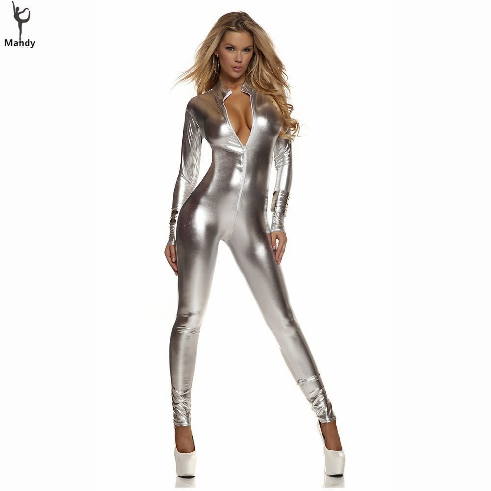 Plus Size Black Sexy Shiny Cat Suit Women Silver Metallic Unitard Tight Suit Lycra Spandex Bodysuit Zipper Long Sleeve Catsuits