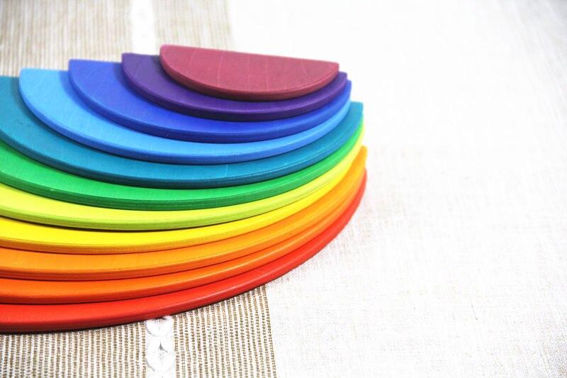 Image 4 - ToysParadise Large Rainbow Blocks/Semicircle Building Blocks Rectangular Board Pegdolls Geometric Wooden Toys For Kids Education-in Blocks from Toys & Hobbies