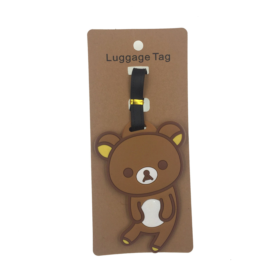 Cartoon Small Bear Luggage Tag Travel Accessories Women Silica Gel Suitcase  Address Holder Baggage Boarding Tag Portable Label