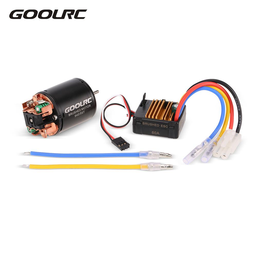 GOOLRC RC Cars Motor 540 55T Carbon Brushed Motor 60A ESC Combo 1/10 Axial SCX10 RC4WD D90 RC Crawler Climbing Car Model Part goolrc rc cars motor 540 55t carbon brushed motor 60a esc combo 1 10 axial scx10 rc4wd d90 rc crawler climbing car model part