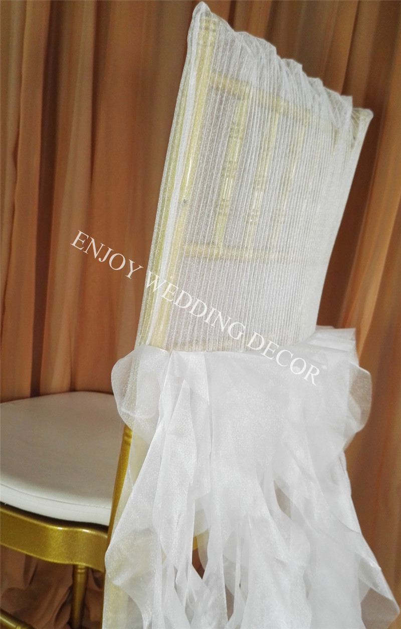elegant pleats organza chiavari chair back cover curly willow sash skirt for wedding-3
