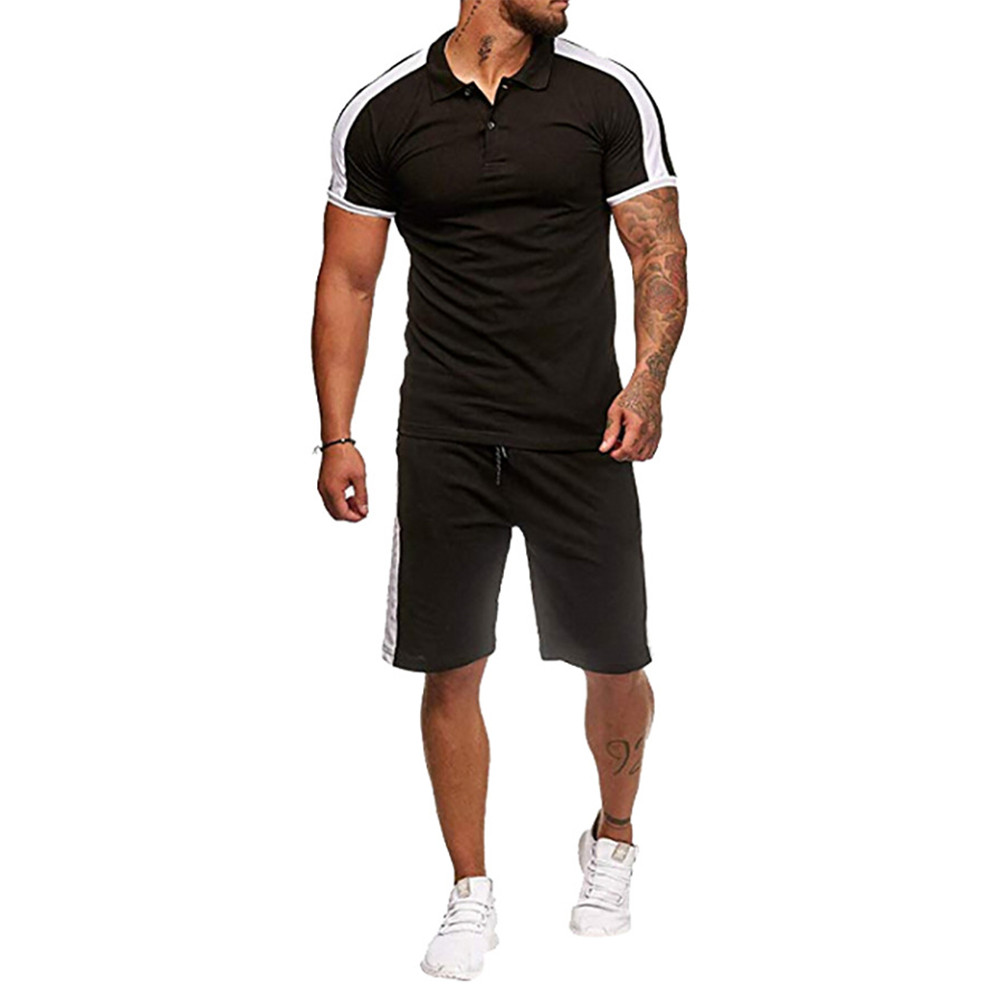 Men Tracksuits Short Sleeve 2019 Summer EU Size Male Fitness Sets High Quality Workout Shorts Sweaty Young Man Casual Sportswear in Men 39 s Sets from Men 39 s Clothing
