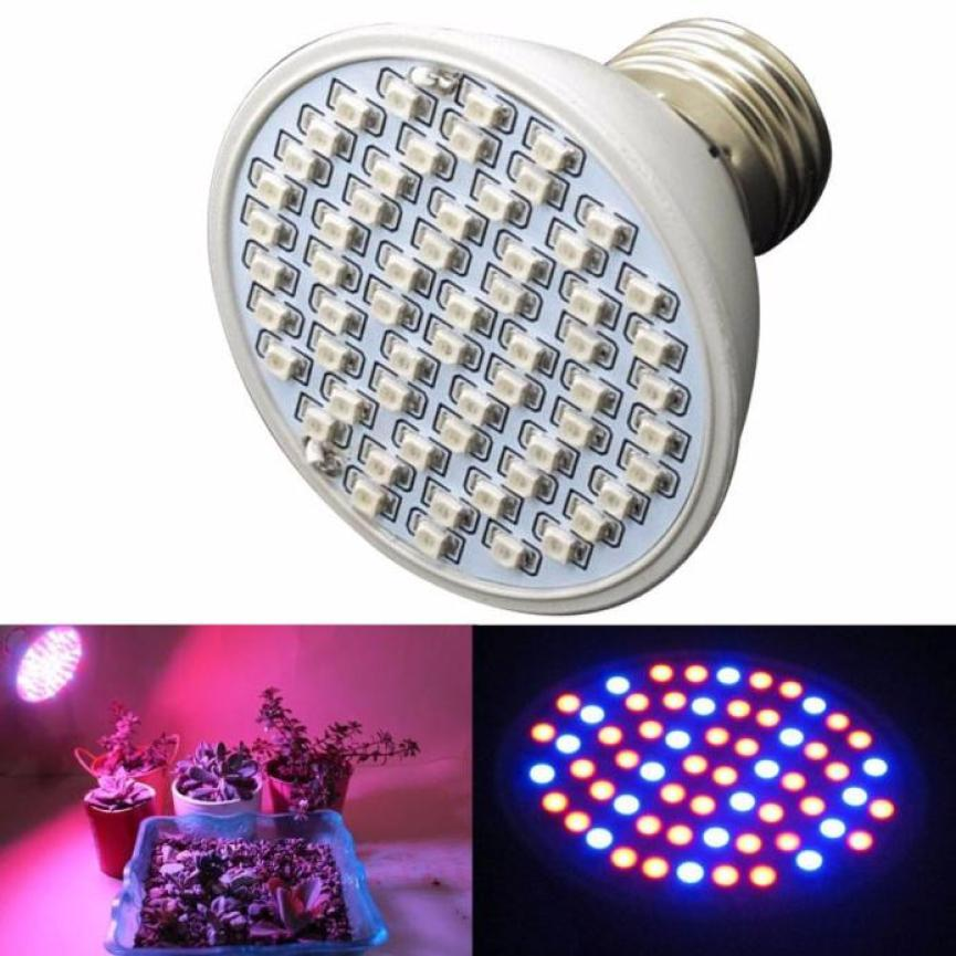 6W 60 LED Bulb E27 Hydroponic Plant Grow Light Panel Full Spectrum Indoor Growing Lamp Lights 40pcs 650nm Red + 20pcs 450nm BU