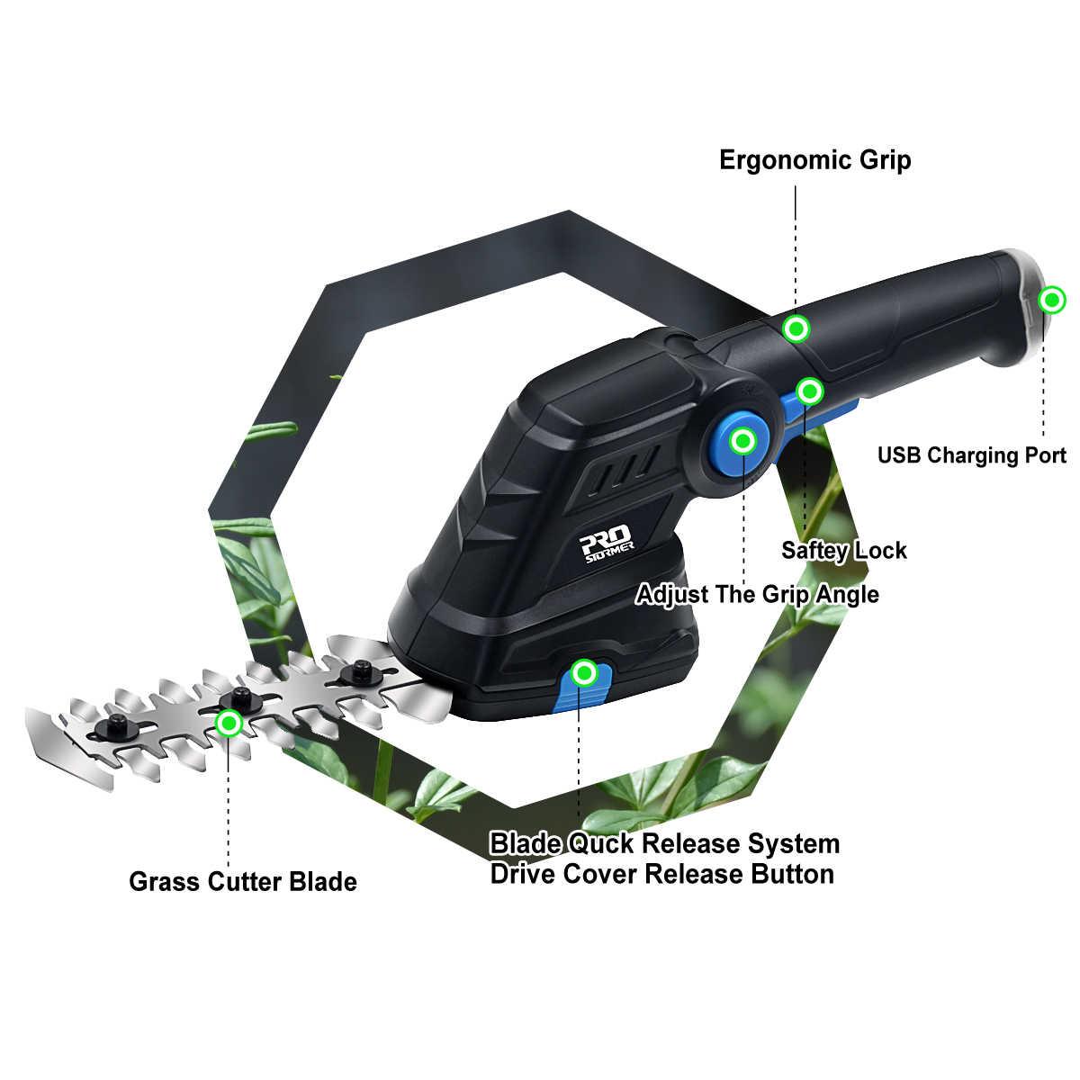 Электрический триммер для живой изгороди 2 in 1 3.6V USB беспроводной домашний триммер перезаряжаемый ножницы для прополки секатор косилка от PROSTORMER