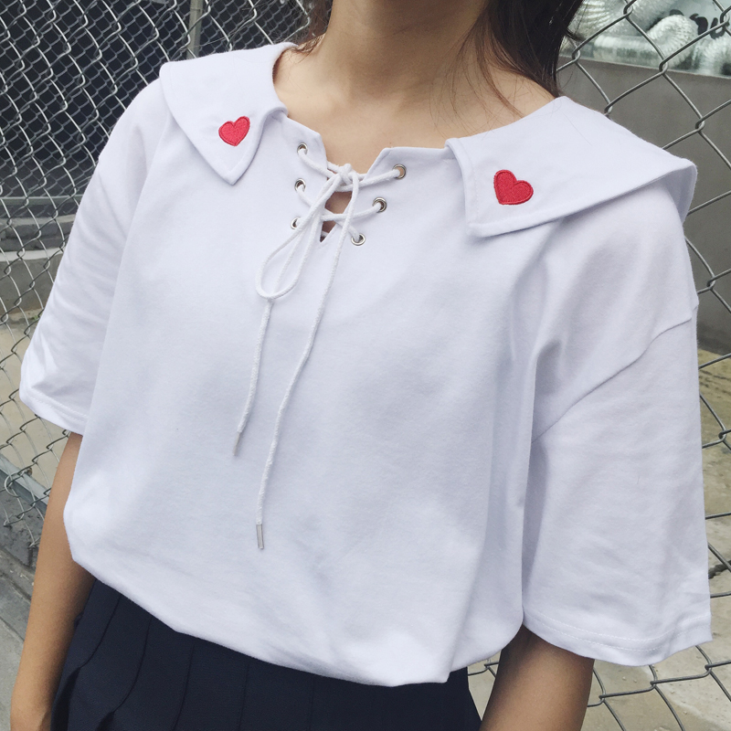 Women Kawaii Summer Preppy Style Sailor Collar Peach Heart Embroidery Bandage Lacing T-Shirt Female Harajuku Tops And Tee