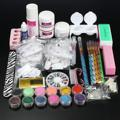 Hot Sale Nail Art Set Acrylic Powder Liquid Glitter Glue Toes separator Brush Tweezer Primer Tips Decorations Manicure Tools Kit