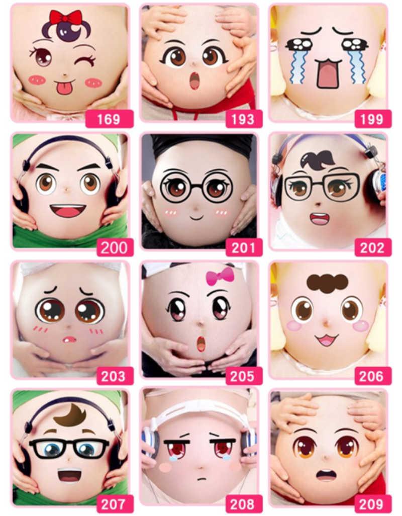Новинка 2018 года, 10 шт./партия, милый реквизит для фотосъемки беременных женщин с 3D изображением живота, Временные татуировки, мультипликационные M896