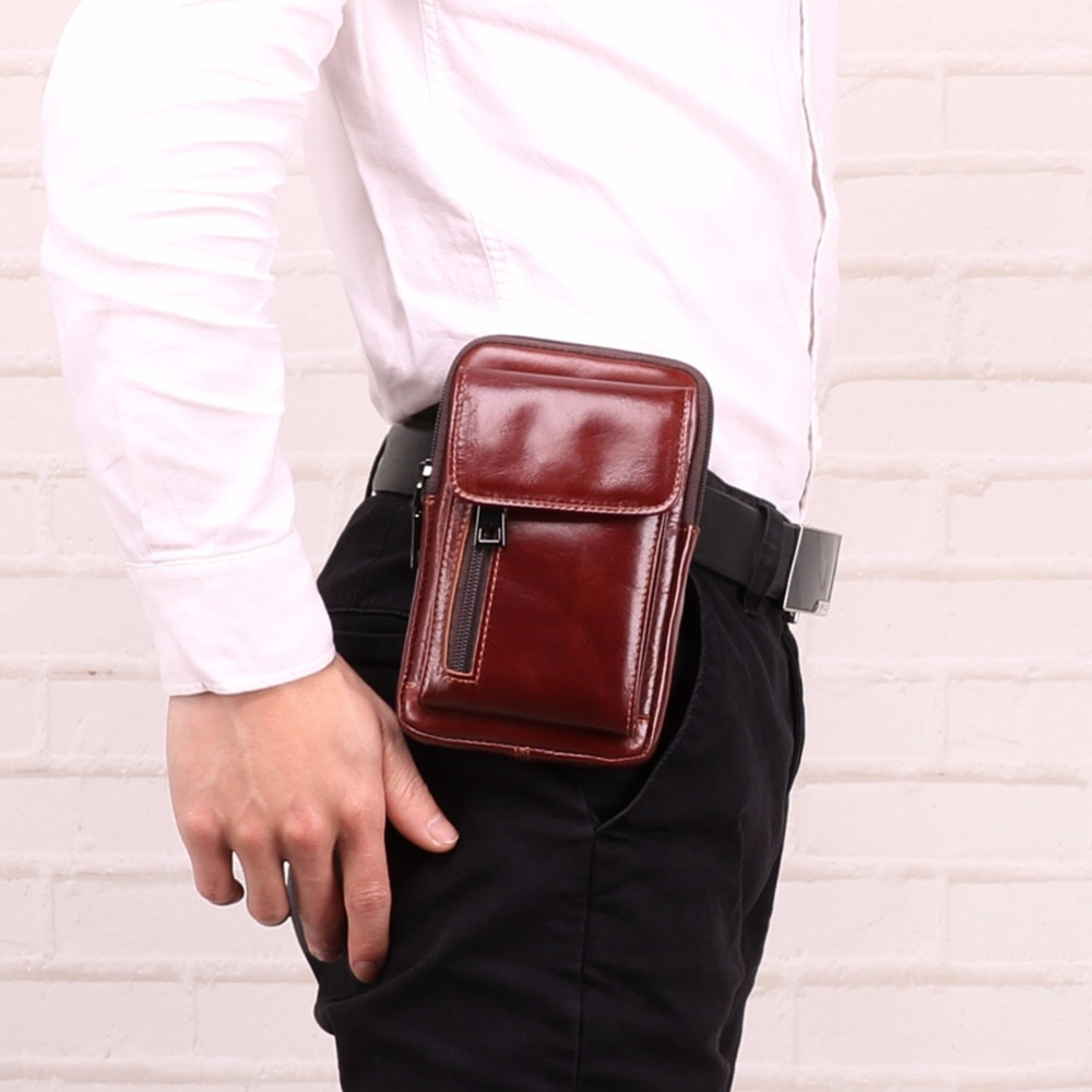 JOYIR Genuine Leather Men 39 s Waist Bags Fanny Pack Pouch Phone Belt Bag Coin Purse Pocket Belt Bum Pouch Pack Vintage Hip Bag New in Waist Packs from Luggage amp Bags