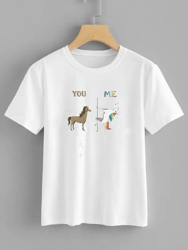 Taschen Mit Griff Oben Hingebungsvoll Hahayule-jbh Neue Sie Mir-pol Tanzen Einhorn Frauen T-shirt Baumwolle Kurzarm Sommer T Shirt Sommer Mode Frauen