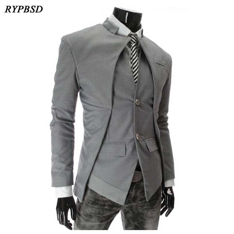 2019 Brand Designer Fashion White Mens Blazer England Style Slim Fit Stand Collar Blazer Coats Business Men Blazer