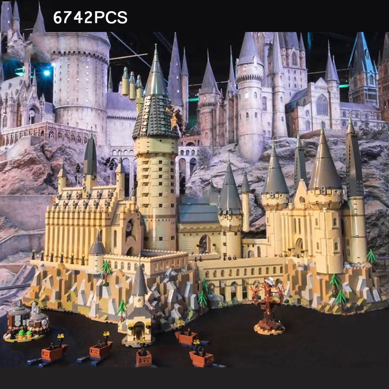 Movie Harry Potter hogwart castle block Salazar Slytherin Godric Gryffindor Rowena Ravenclaw Helga Hufflepuff figure brick toys action figure for kids harri potter cloak gryffindor ravenclaw slytherin hufflepuff magic school cosplay costumes cloaks robe