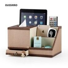 OUSSIRRO NEW Fashion Tissue Box Multi functional Napkin Holder PU Leather Remote Controller Storage Desk Organizer