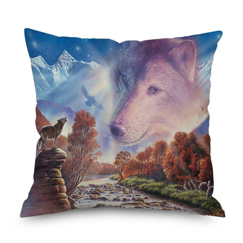 Funda de almohada de felpa corta nórdica de delfín y Lobo Animal funda de cojín decorativo de poliéster estilo cuadrado-2