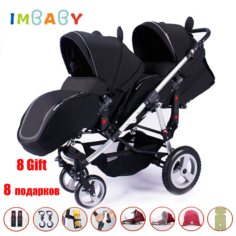Twins Stroller Baby Minie Micky Luxury Pram Double Strollers Carriage For Twins Prams For Newborns two baby Lightweight cars anti uv sunshade twins baby stroller double tricycle trolley rotating swivel seat prams two baby carriage carrier buggies