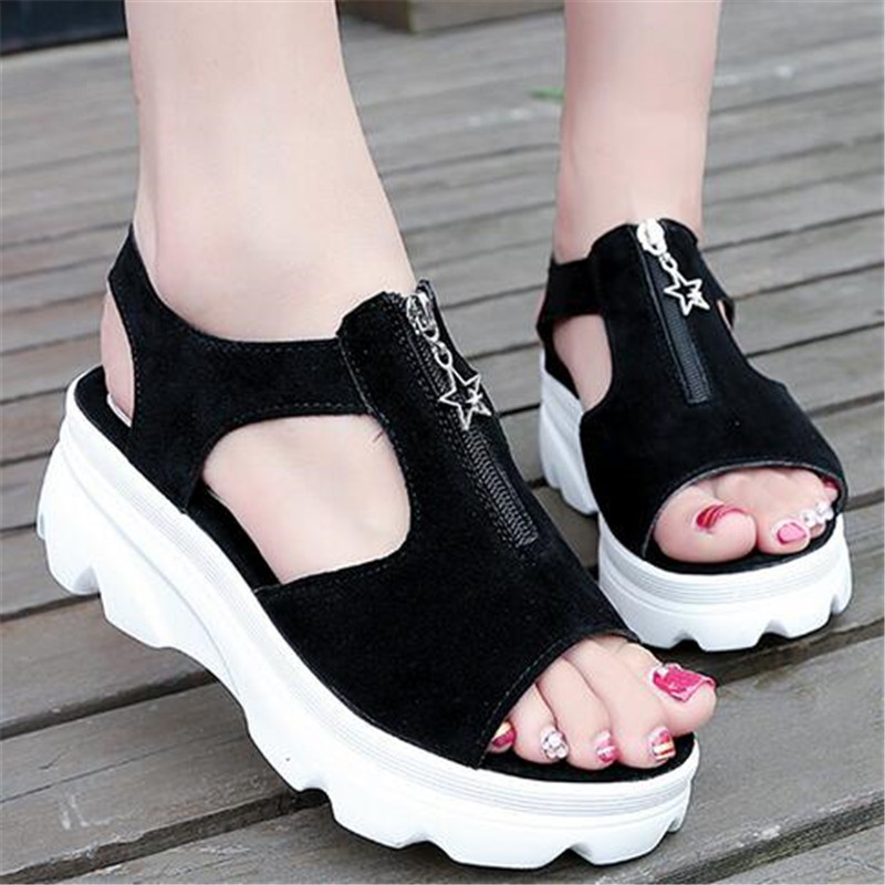 Sandals female 2018 summer new Harajuku style flat bottom wild thick platform shoes Rome casual