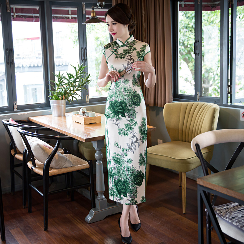 Shanghai histoire chinois robe traditionnelle orientale style robe estido tradicional Long cheongsam Qipao fausse soie chine robe