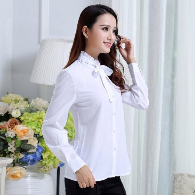 #Korean Style #Women Tie White #Blouse #Ladies Office Work Wear #Shirts #Fashion Long Sleeve #Tops #GRL #BOYGRL 2