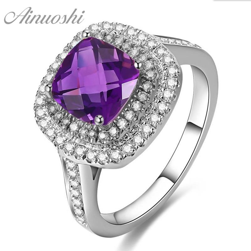 AINUOSHI naturel améthyste Double Halo anneau 2.5ct coussin coupe gemmes fiançailles fête femmes bijoux 925 Sterling argent carré anneau