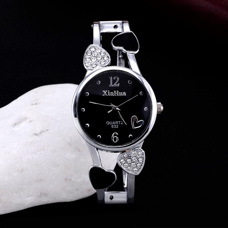 2019 Xinhua Fashion Watches Women Stainless Steel Bracelet Bangle Flower Lover Heart Shape Wristwatches Female Clock Relogios