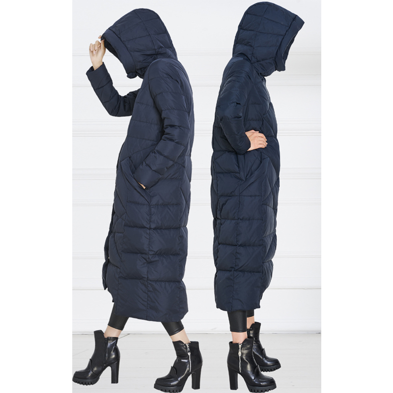 2017 winter new fashion women's long hooded down jacket female Maternity coat cnavy blue worm down coat outerwear good quality 2017 new winter fashion women down jacket hooded thick super warm medium long female coat long sleeve slim big yards parkas nz18