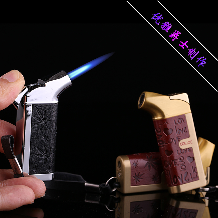 Original personality f male boutique windproof font b electronic b font inflatable metal lighter smoking set
