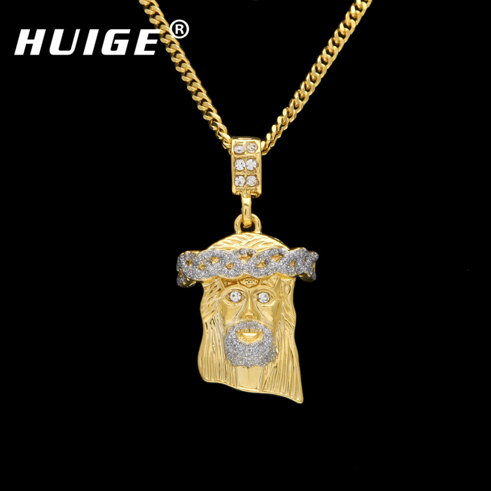 Mens gold iced out jesus piece necklaces charm golden chain bling mens gold iced out jesus piece necklaces charm golden chain bling pendants jewelry rappers collier small jesus necklace in pendant necklaces from jewelry mozeypictures Images