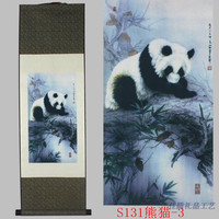 TNUKK Panda pattern silk painting decoration scroll painting and the new special gift wholesale Auspicious treasure #3251.