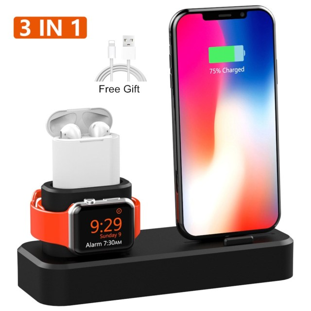 3 in 1 Charging Dock Holder For iPhone XS XR 8 8 Plus 7 6 Silicone Charging Stand Dock Station For Apple watch 4 3 2 For Airpods