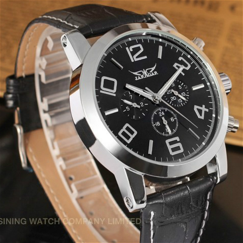 Подробнее о Jargar Automatic Men Watch Black Genuine Leather Strap Silver Color with Gift Box jargar jag6070m3s2 new men automatic fashion watch silver wristwatch for men with black leather strap best gift free ship