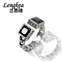 Men rings 925 sterling silver rings personality women rings Roman numerals double square zircons charms couple jewelry Lovers