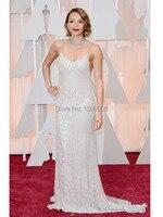 2015 Oscar New Carmen Ejogo Celebrity Dresses Sexy Sparkly Spaghetti Strap Sequined Red Carpet Formal Evening