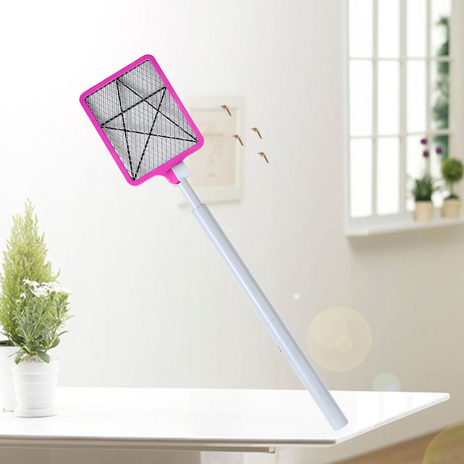 Behogar Retractable USB Rechargeable Electric Bug Fly Mosquito Insect Swatter Racket Zapper Killer With 180 Degree Rotate Head