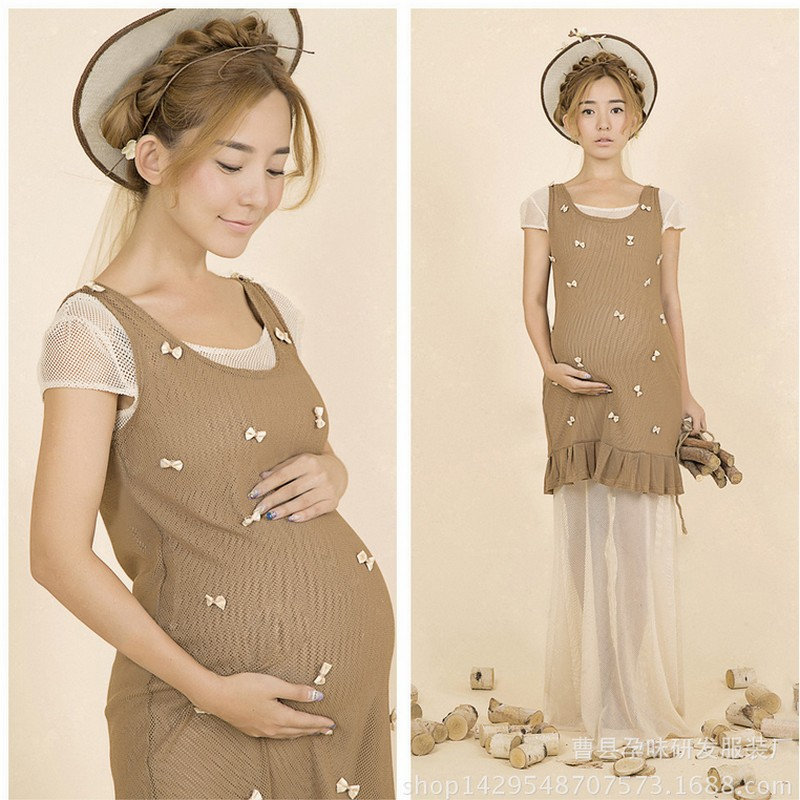 Autumn Spring summer Pregnant Maternity Dresses Casual Pregnancy Clothes for Pregnant Women Clothing pregnant woman photography