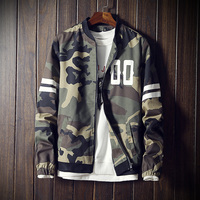 2017 Fashion Camouflage Jacket Men Striped Bomber Jacket Male Casual Baseball Collar Mens Jackets And Coats