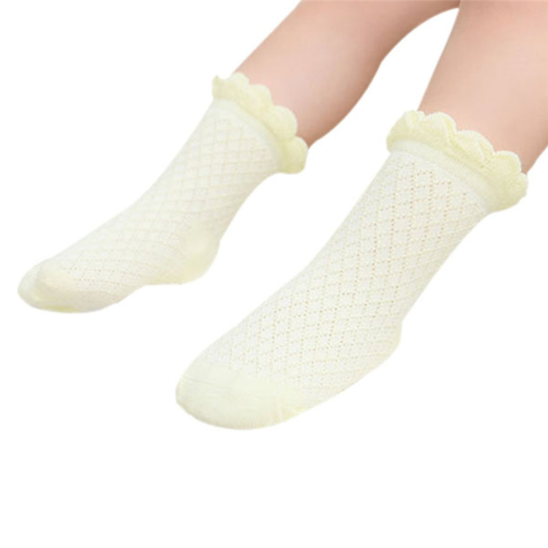 Cute Baby Toddler Kids Girls Boys Lace Mesh Thin Soft Cotton Ankle Socks 5 Colours