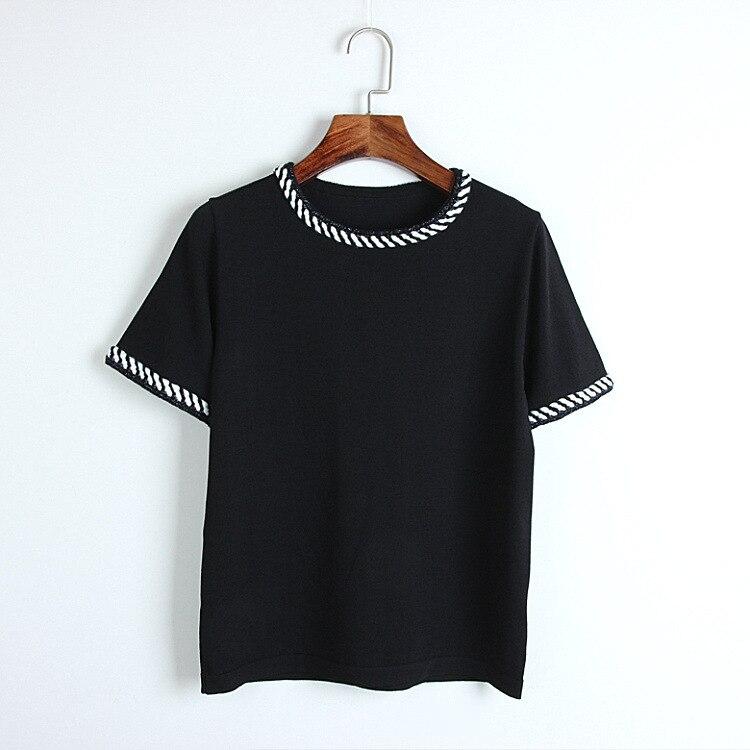 D'été Femmes Tricoté De Noir Manches Et T cou Noir 2018 shirts Étirement Courtes Élégant Sexemara blanc Bon T Chemise Avec shirt Blanc Femme O À Tops hCxdtQrs